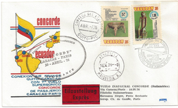 1er VOL CONCORDE - QUITO EQUATEUR (CARACAS PARIS) - 10 Avril 1976