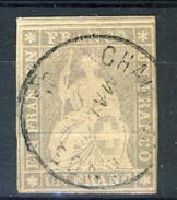 Svizzera 1854-62 Unificato N. 31, SBK N. 27C, F. 1 Grigio-violetto Usato ( Chaux De Fonds) Cat. € 1300 ATTEST-PERIZ