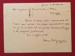 PITTORE MEMO VAGAGGINI CARTOLINA POSTALE  AUTOGRAFA AL PREMIO DI PITTURA VERSILIA  DEL 1942 - Autographs