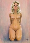 "4"" X 6""  [ 10 X 15 Cm ] Alain Aslan Erotic Pin-up  Postcard & Artcard Fine Nude  Female Naked Sexy Candid Model  AA#021 - Pin-Ups"