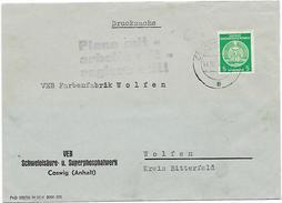 DDR Dienst Brief VEB  Schwefelsäuew. Coswig EF + Propaganda Plane Arbeite Regiere Mit. (24)