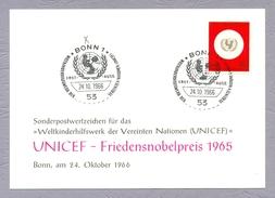 Germany, 1966, UNICEF Friedensnobelpreis, Weltkinderhilfswerk Der Vereinten Nation Ganzsache Bonn Sonderstempel