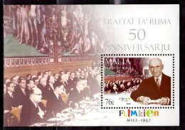 2007 Malta -50 Years Of Rome Treaty - EU Basic Agreement - MS Paper MNH** - Double Currency