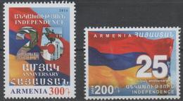 ARMENIA ,2016, MNH, FLAGS,  25TH ANNIVERSARY OF INDEPENDNECE, 2v