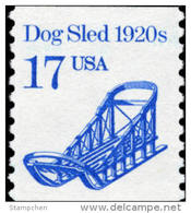 1986 USA Transportation Coil Stamp Dog Sled Sc#2135 History Car Snow Arctic Post