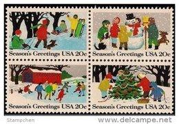 1982 USA Christmas Seasons Greeting Stamps Sc#2027-30 2030a Sledding Snowman Ice Skating Christmas Tree - Climate & Meteorology