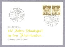 Germany Deutschland 1966, 150 Jahre Staatspost In Den Rheinlanden Koblenz Ganzsache Sonderstempel