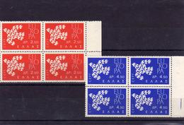 1961 Greece Europa CEPT Stylized  Bird Two Blocks Of 4 MNH