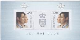 Denmark 2004 Wedding Crown Price Frederik And Mary Of Tasmania Souvenir Sheet - Mint (G43-75a)