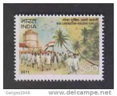 India 2011  - 5oo  Goa Liberation - Golden Jubilee  Castle Flag Demonstrators   # 32128 S Inde Indien