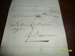 1801 (Revolution)IND/6- ARDENNES - Lettre Manuscrite TAXEE Départ 7 MEZIERES   Pour BEAUNE -3 Photos - Marcophilie (Lettres)