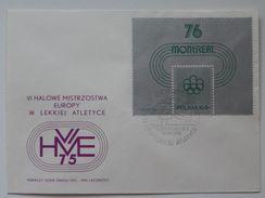 European Championships Indoor Athletics  1975 Poland  Katowice / FDC / Stamp / Block Montreal Olympics 1976