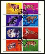 OMAN - ANIMAUX - FEUILLET DE 8 TIMBRES OBLITERES - Timbres