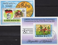 Springreiter 1973 Liberia Blocks 64+109 O 9€ Soccer Championat 1986 Mexico Hojas Ss Blocs Olympics Sheets Bf Africa - Horses