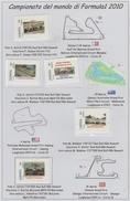 20 Francobolli E Un Fogglietto Del Canpionato Del Mondi Di F1 Del 2010-