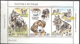 Sweden Sverige 1989 Swedish Dogs  Mi 1569-1571 From Booklet MH  144, MNH(**)
