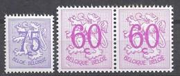BELGIQUE - Cob - 1369** - Paire De 1370P3a** - Cote 1;75 € - Chiffre Sur Lion Héraldique