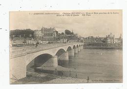 Cp , 37 , AMBOISE , Château , Bras Et Rive Gauche De La Loire , Hôtel De Ville Et Quais , Vierge - Amboise