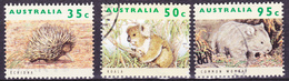 AUSTRALIA 1992 Natura Wild Australia Echidne, Koala, Womba (Yv 1272 1273 1275) Used