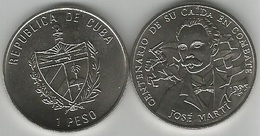 Cuba 1 Peso 1995 Jose Marti Death In Combat Copper Nickel UNC - Cuba