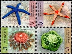Taiwan - 2017 - Marine Life - Starfish - Mint Stamp Set