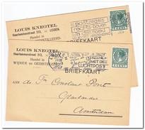 2 Briefkaarten 1932 + 1935 Van Leiden Naar Amsterdam ( Louis Knegtel, Handel In Wijnen En Gedistilleerd )