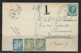 GZ-/-002--. SUPERBE  , POSTÉ En BELGIQUE ( WIHERIES) , TAXE   = 20 Cent & 5 Cent : - FRANCE  ( 1924 ) , Liquidation - Segnatasse
