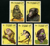 FUJEIRA - ANIMAUX - SINGES - YT 133 - SERIE COMPLETE 5 TIMBRES OBLITERES