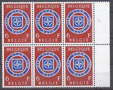 BELGIQUE - Cob - Bloc De 6 X 1496** - Cote 2,70 € - 20e Anniversaire De La Signature Du Traité De L'OTAN