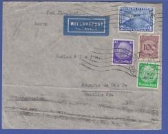 Zeppelin Mi.-Nr. 497 Als MIF Auf LP-Brief 1933 Gel. Von Hamburg Nach Argentinien - Stamps