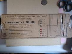 Calcul Calculatrice Papier Mesures Surface De Verres à Vitres Glaces BALLIMAN Rue De Provence Paris - Ohne Zuordnung