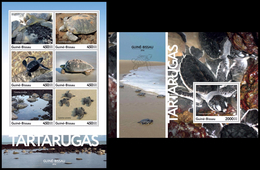GUINEA BISSAU 2016 - Turtles, M/S + S/S. Official Issue