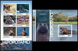 GUINEA BISSAU 2016 - Hippopotamus, M/S + S/S. Official Issue