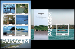 GUINEA BISSAU 2016 - Landscapes, Boats, M/S + S/S. Official Issue