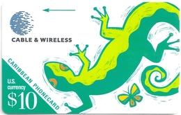 Caribbean Islands - Lizard - 213BCAA - 1998, Used - Phonecards