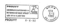 """1992 Critérium National Tennis De Table. Prouvy ;flamme Annonce """"Port Payé"""""""