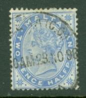 Malta: 1885/90   QV   SG25    2½d    Bright Blue    Used - Malta (...-1964)