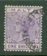 Malta: 1885/90   QV   SG28    1/-   Violet   Used - Malta (...-1964)