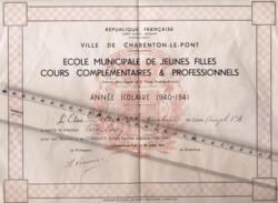 94 -  CHARENTON LE PONT  - Ecole De Jeunes Filles - Diplome - 1940 - Diploma & School Reports