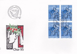 Switzerland FDC 1995 Chur - Block Of Four (G49-75)