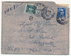 Enveloppe Affr. 15F Gandon - De Marseille Canebière 1952 - Taxée à Brazzaville - Timbre 10F AOF