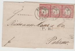 BRS337 /  DEUTSCHES  REICH -  Gr. Brustschild, 3er Streifen Nach  Palermo,  Sizilien 1873 - Deutschland