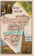 D 67 - Chromo - Carte De Département Du Bas-Rhin Illustrée - Format 6,5 Cm/10,5 Cm. - Pub Au Dos - (voir Scan). - Vieux Papiers
