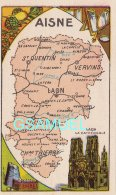 D 02 - Chromo - Carte De Département De L'Aine Illustrée - Format 6,5 Cm/10,5 Cm. - Pub Au Dos - (voir Scan). - Vieux Papiers