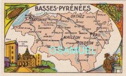 D 64 - Chromo - Carte De Département Des Basses-Pyrénées Illustrée -  Format 6,5 Cm/10,5 Cm. - Pub Au Dos - (voir Scan). - Vieux Papiers