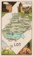 D 46 - Chromo - Carte De Département Du Lot Illustrée -  Format 6,5 Cm/10,5 Cm. Pub Au Dos - (voir Scan) - Vieux Papiers