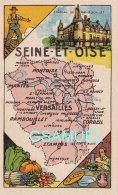 D 78 - Chromo - Carte De Département De La Seine-et-Oise Illustrée -  Format 6,5 Cm/10,5 Cm. Pub Au Dos - (voir Scan) - Vieux Papiers