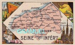 D 76 - Chromo - Carte De Département De La Seine Inférieure Illustrée -  Format 6,5 Cm/10,5 Cm. Pub Au Dos - (voir Scan) - Vieux Papiers