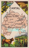 D 15 - Chromo - Carte De Département Du Cantal Illustrée -  Format 6,5 Cm/10,5 Cm. Pub Au Dos - (voir Scan) - Vieux Papiers