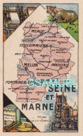 D 77 - Chromo - Carte De Département De La Seine Et Marne Illustrée -  Format 6,5 Cm/10,5 Cm. Pub Au Dos - (voir Scan) - Vieux Papiers
